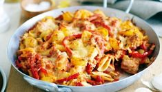 Spanish Tuna Pasta Bake - For a quick and easy meal for the whole family, try this tasty tuna pasta bake. Baked Pasta Recipes, Tuna Recipes, Dinner Recipes, Cooking Recipes, Healthy Recipes, Healthy Food, Tuna Pasta Bake, Paella, Kuchen