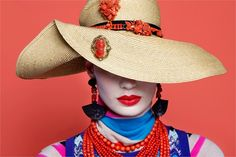 """coral """"jeweled"""" hat"""