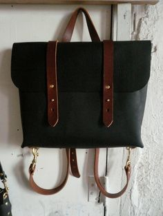 black and cherry rucksack briefcase by fluxproductions on Etsy, $370.00