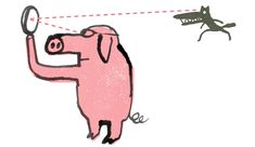 by Serge Bloch for NYT. That pig's wearing glasses. And has floppy ears. So great letting the ink get all bleedy and loose. Love that smooshy spot on the pig's back shoulder. Also - how great is that crocodiley wolf? Answer: so great.