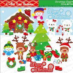 MERRY CHRISTMAS 1 Christmas Clipart Polar Bear by CeliaLauDesigns