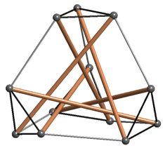 6 strut tensegrity sculpture, outlines a truncated tetrahedron.