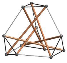 6 strut tensegrity sculpture, outlines a truncated tetrahedron.