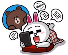 My secret stash of LINE Stickers Collection Cute Couple Cartoon, Cute Love Cartoons, Cute Love Pictures, Cute Love Gif, Cony Brown, Brown Bear, Line Cony, Good Night Gif, Mickey Mouse Cartoon