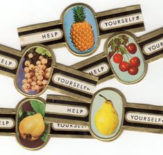 5pcs FRUITS CIGAR BANDS Vintage 1960s by cOveTableCuriOsitiEs, $3.95