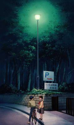 Studio Ghibli's Whisper of the Heart Wallpaper Movie Wallpapers, Cute Cartoon Wallpapers, Animes Wallpapers, Art Studio Ghibli, Studio Ghibli Movies, Studio Ghibli Background, Japon Illustration, Anime Scenery Wallpaper, Couple Wallpaper