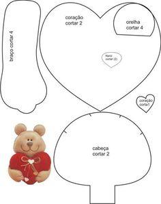 Urso com coração, lindo de tudo.