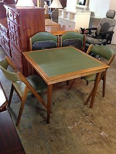 3-Coronet-Wonderfold-Folding-chairs-and-Matching-Card-Table-Green