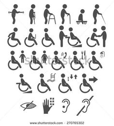 Set of disability people pictograms flat icons isolated on white background