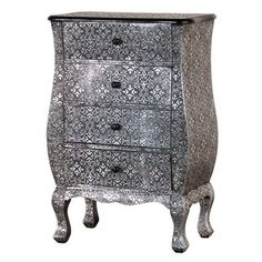 Coach House Metal Silver Embossed Chest Of 4 Drawers Antique Shabby Chic Contemporary Home Furniture, Contemporary Style Homes, Unusual Furniture, Wood Bedroom, Bedroom Furniture, Bedroom Ideas, Accent Furniture, Silver Bedding, Painted Chest