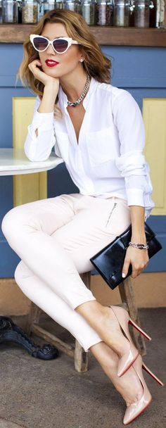 J. Brand | Nude Zip Pockets & Ankle Grazer Jeans. | WANT those shoes! <3