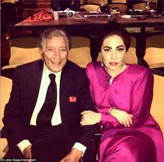 In the works: That day, she got together with jazz musician Tony Bennett to work on their upcoming collaborative album called Cheek To Cheek...