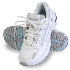 """The Lady's Plantar Fasciitis Walking Sport Shoes - Hammacher Schlemmer - """"I followed your directions in measuring and ordering and my shoes feel wonderful. The ball of my foot and my back hurt while walking and that was gone immediately. I am 85 and do not like to wear """"old lady"""" shoes…these are normal looking """"sneakers."""" Thank you!"""""""