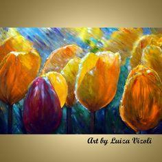 Original Painting Modern Impasto Oil Spring Tulips in the Rain Yellow Flowers     www.artbyluizavizoli.com