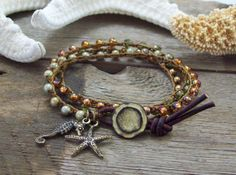 Crochet 3x Wrap Beach Bracelet  Bronze Starfish by JunoniaDesigns, $35.00
