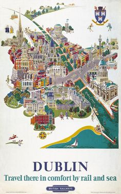 Irish Travel Art Poster Dublin Map River Liffey Ireland