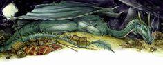 David T. Wenzel - Dragons Dragon for Beowulf Beowulf, Tolkien, Dragons, Fantasy Art, David, Illustrations, Artwork, Animals, Painting