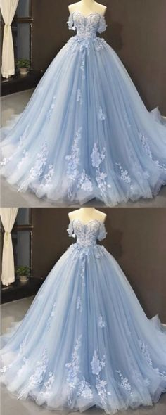 Light Blue Quinceanera Dresses, Baby Blue Prom Dresses, Blue Ball Gowns, Light Blue Dresses, Quince Dresses, Tulle Ball Gown, Ball Gowns Prom, Ball Gown Dresses, Quincenera Dresses Blue