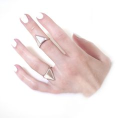 ENOCH NYC - Sterling silver hand-made Triangle Shield Alchemy V Ring by Metal and Myth