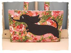 Dachshund Tote Bag Purse Wheener Dog Black and Tan Puppy with Pink Roses