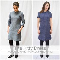 Le Kitty robe motif - patron de couture robe - femmes couture patron PDF - patron - col Claudine - robe-patron