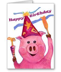 Happy Birthday Celebration Pig Card