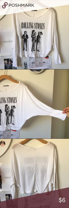 Rolling stone tee dolman sleeve . Very soft touch Brandy Melville Tops Tees - Long Sleeve