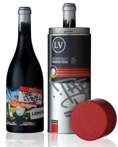 Package wine (The Piece Shiraz) with street art language. Cool!