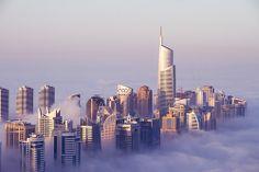 Jumeirah Lake Towers in the Morning #clouds #morning #dubai #fog #unreal