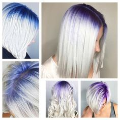 Purple and blue shadow roots hair colorful hair - Hair World Hair Color Purple, Hair Dye Colors, Cool Hair Color, Purple Ombre, Green Hair, Purple Grey, Mint Hair, Color Blue, Colour
