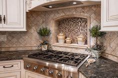 Kitchen Interior Design Remodeling Corner stove with built in tile shelf - Kitchen Backsplash Designs, Kitchen Interior, Kitchen Remodel, Kitchen Decor, Diy Kitchen Renovation, New Kitchen, Home Kitchens, Corner Stove, Kitchen Renovation