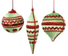 Red and Green Velvet Ornaments