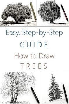 Tree Pencil Sketch, Tree Drawings Pencil, Tree Sketches, Trees Drawing Tutorial, Sketches Tutorial, Beginner Drawing Lessons, Drawing For Beginners, Realistic Drawings, Easy Drawings