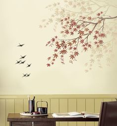 For the powder room, maybe on gold leaf? Stencil Japanese Maple Branch - Reusable Stencils for Easy Home Decor. $42.95, via Etsy.