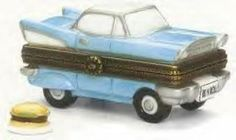 1950s Coupe Car porcelain hinged box MIDWEST NIB