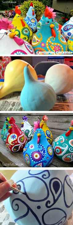 Painted Chicken Gourds You Will Love This Easy Craft We fell head over heels for these Painted Chicken Gourds and you will too! They sure are cute and you won't be able to wait to make a whole family of them! Cute Crafts, Easy Crafts, Diy And Crafts, Crafts For Kids, Arts And Crafts, Chicken Crafts, Chicken Art, Craft Projects, Projects To Try