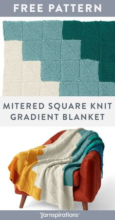 Free Mitered Square Knit Gradient Blanket pattern using Patons Inspired yarn. This lively and cozy throw is great for practicing mitered squares with center decrease, and garter stitch techniques. Each square is created by knitting off of the previous square, joining all the pieces as you go. This ensures that there are no seams to contend with in finishing. #Yarnspirations #FreeKnitPattern #KnitAfghan #KnitThrow #KnitBlanket #MiteredSquare #JAYGO #PatonsYarn #PatonsInspired Beginner Knitting Patterns, Knitting For Beginners, Knit Patterns, Free Knitting, Blanket Patterns, Knitted Afghans, Knitted Blankets, Patons Yarn, Mitered Square