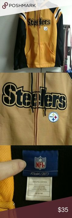 Steelers Full Zip Jacket Size Med but fits like a Large; excellent used condition! Reebok Jackets & Coats