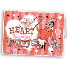Cute and fun retro circus Valentine card #valentines #day #card