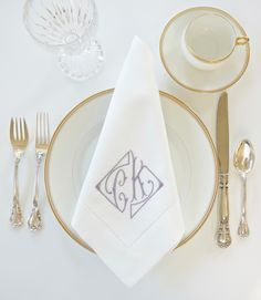 NEW Parisian Font Design for Monogrammed Dinner Napkins, Cocktail Napkins, Handkerchiefs and Hand Towels, Embroidered Bridal Linens, Personalized Wedding Gifts