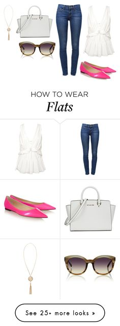 """""""Sin título #2484"""" by ceciliaamuedo on Polyvore featuring Anine Bing, Frame Denim, Jimmy Choo, Michael Kors, Linda Farrow and Versace"""
