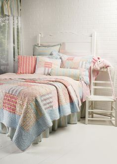Decor Design in Owen Sound is all about interior decorating! Specializing in Drapery, Blinds, Bedding, and more! Soft Colors, Colours, Pastel House, Colorful Quilts, Interior Decorating, Decorating Ideas, Comforters, Duvet Covers, Bedding