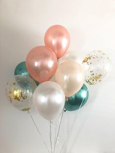 Rose Gold Chrome Gold Peach Chrome Green Balloons Emerald and Rose Gold Bridal Shower Rose Gold Emerald Wedding Chrome Green Emerald Wedding