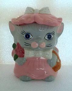 Cat Cookie Jar, Cookie Jars, Vintage Cat, Vintage Toys, Kit Kat Cookies, Pink Grey, Gray, Sugar Bowls, Ceramic Jars