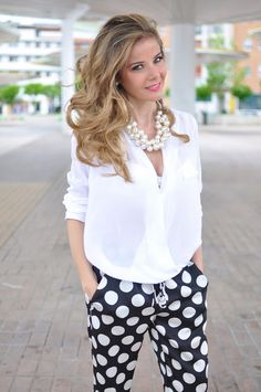 white top & polka dots + pearls