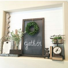 Plant Ledge Decorating, Foyer Decorating, Farmhouse Style Decorating, Farmhouse Decor, Decorating Ideas, Alcove Decor, Niche Decor, Entryway Decor, Art Niche