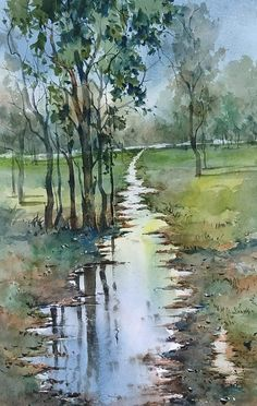 Watercolor Scenery, Tree Watercolor Painting, Watercolor Landscape Paintings, Acrylic Painting Canvas, Landscape Art, Scenery Paintings, Indian Art Paintings, Nature Paintings, Diy Art Projects