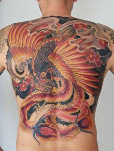 phoenix backpiece in progress - 50 Beautiful Phoenix Tattoo Designs  <3 <3