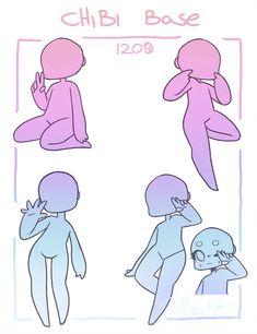 Chibi poses reference (chibi base set by Nukababe on DeviantArt Chibi Base, Chibi Tutorial, Chibi Sketch, Drawing Body Poses, Art Poses, Drawing Reference Poses, Drawing Base, Drawing Techniques, Cute Drawings
