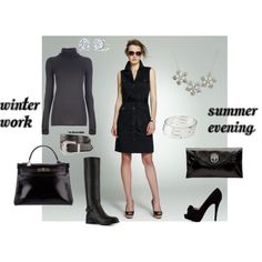 """Black shirt dress"" by c-felice on Polyvore"